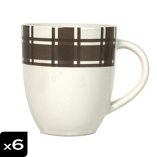 Lot de 6 mugs Torchon taupe
