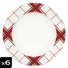 Lot dec 6 assiettes plates Torchon Rouge