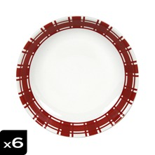 Lot de 6 assiettes calottes Torchon Rouge