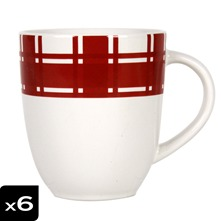Lot de 6 Mugs torchon Rouge