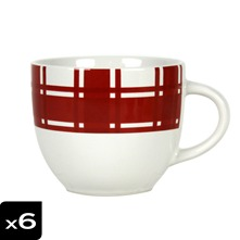 Lot de 6 Tasses à thé Torchon Rouge