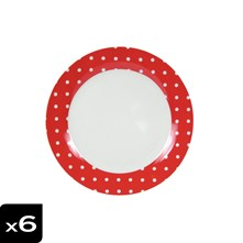 Lot de 6 assiettes plates Pois Rouge