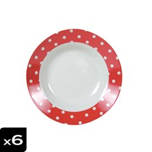 Lot de 6 assiettes calottes Pois Rouge