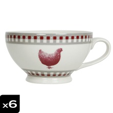 Lot de 6 tasses Jumbo à pied Gallina