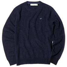 Navy Lambswool Cane Jumper