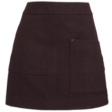 Wine Farnley Wool Skirt