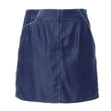 Jupe en chambray plumetis indigo
