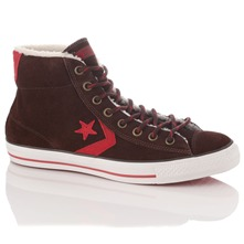 Men's Brown/Red Suede Star Player High Top Trainers