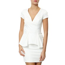 White Clarissa Peplum Dress