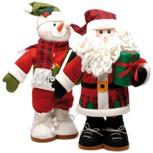 Red Freestanding Fabric Tartan Santa/Snowman