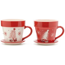 Red/Cream Assorted Christmas Cups/Saucers