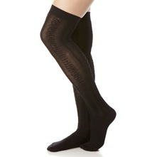 Black Aran Knee High Socks