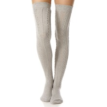 Grey Aran Knee High Socks