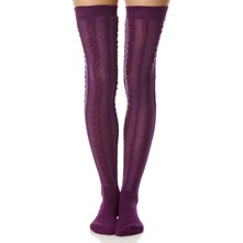 Purple Aran Knee High Socks