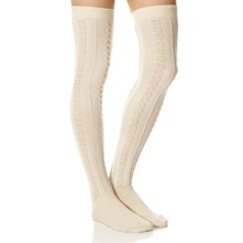 Ecru Aran Knee High Socks
