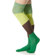 Green Block Coloured Knee High Socks