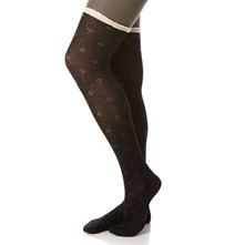 Black Ditsy Lace Trim Tights
