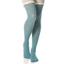 Blue Ditsy Lace Trim Tights