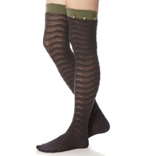 Charcoal/Khaki Floribunda High Knee Socks
