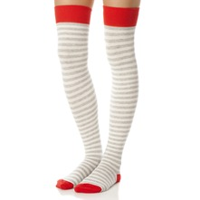 Ecru/Red Striped Knee High Socks