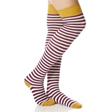 Purple/Ecru/Yellow Striped Knee High Socks