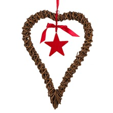 Large Natural Wood Heart/Star Hanging