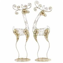 Set of Two Gold Swirl Reindeers