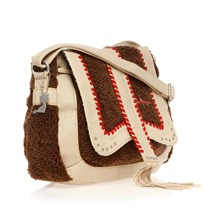 Sac bandoulire marron et beige