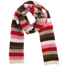 Red/Multi Striped Wool Blend Scarf