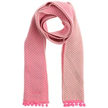 Pink Pom Pom Trim Cotton Scarf