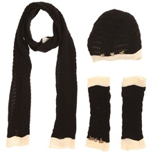 Set of Three  Black/Ecru Floribunda Scarf/Hat/Gloves