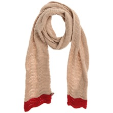 Tan/Red Floribunda Cotton Scarf