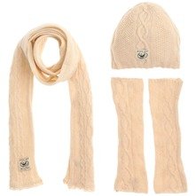Set of Three Cream Hibernate Scarf/Hat/Gloves
