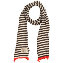 Brown/Ecru/Orange Stripey Cotton Scarf (on a spool)