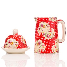 Red Antique Paisley Half Pint Jug & Butter Bell