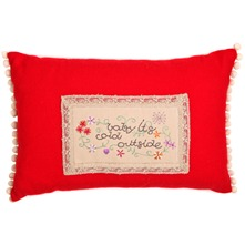 Red Pom Pom Cushion