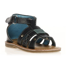 Sandales en cuir bleu marine