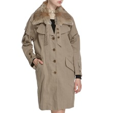 Stone Angora Collar Raincoat