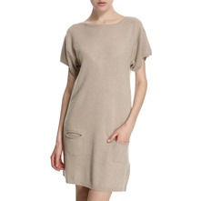 Beige Cashmere Pocket Dress