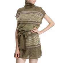 Green/Plum Striped Wool/Alpaca Blend Tunic