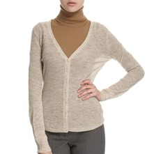 Oatmeal V-Neck Alpaca/Wool Blend Cardigan