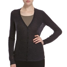 Charcoal V-Neck Alpaca/Wool Blend Cardigan