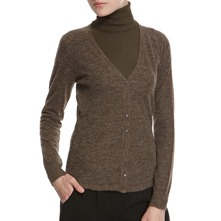 Brown V-Neck Alpaca/Wool Blend Cardigan