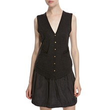 Black Pinafore Wool Blend Dress