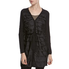 Black Silk/Cashmere Blend Long Ruffle Cardigan