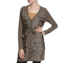 Khaki Silk/Cashmere Blend Long Ruffle Cardigan