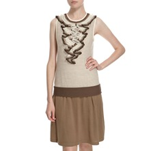 Beige/Brown Ruffle Neck Knitted Dress