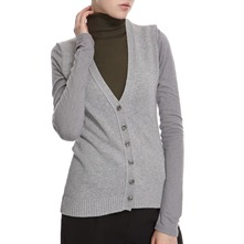Grey Wool Blend V-Neck Cardigan