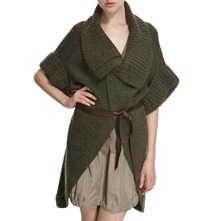 Khaki Knit Wool Blend Cardigan