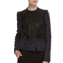 Navy/Black Wool Blend Sequin Embellished Jacket